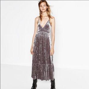 Zara stone silver crushed velvet maxi dress M
